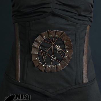 Sale MASQ Brown clockwork cameo steel boned waist cincher - steampunk corset with real leather details and lacing M L XL