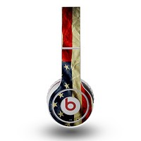 The Dark Wrinkled American Flag Skin for the Original Beats by Dre Wireless Headphones