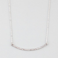 Full Tilt Rhinestone Curved Bar Necklace Silver One Size For Women 24486414001