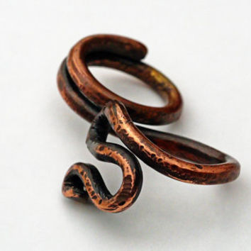 Extra THICK Copper Snake Ring, Double Finger Ring, Men's Ring, Rugged, Hammered Wrap Ring