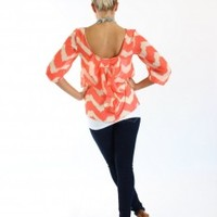 Chevy with Bows Top Ivory and Coral - Modern Vintage Boutique