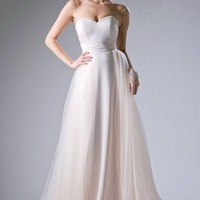 Champagne Strapless Prom Gown with Tulle Overlay