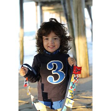 Royal blue navy Birthday Shirt Long Sleeve Shirt boys party Big 1 2 3 4 5 1st 2nd 3rd 4th 5th one two three four five supplies cake theme