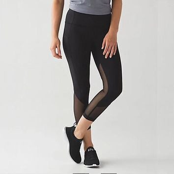 lululemon Pace Rival Crop Yoga Run Leggings Sweatpants (7 Points Long)