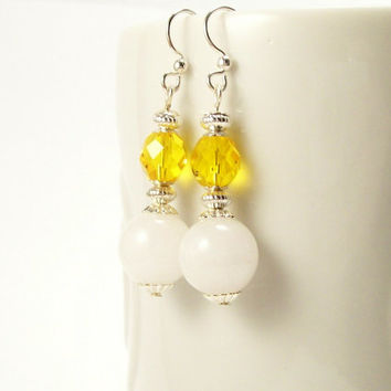 Gemstone Jewelry Snow Quartz Earrings~ Beaded Earrings~Stone Glass Silver~Yellow and White Earrings~Beaded Jewelry~Handmade Gemstone Jewelry