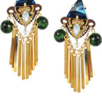 Erickson Beamon | Alchemy gold-plated Swarovski crystal and ruby zoite earrings | NET-A-PORTER.COM
