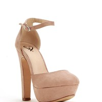 Taupe Lady-like Faux Suede Heels