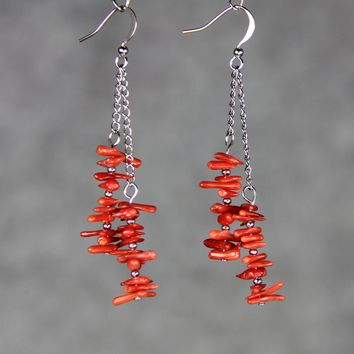 Red coral chips Linear long stone chunky dangling Earrings Bridesmaid gifts Free US Shipping handmade Anni designs