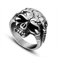 A jazz lovers magic Halloween Skull Ring Titanium steel jewelry trends personality SA743