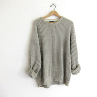 oversized loose fit off white oatmeal cotton sweater / men's size L