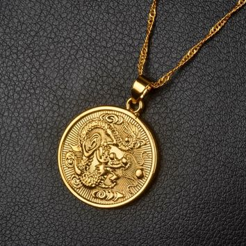 Anniyo Auspicious Dragon Pendant Necklaces Thin Chain Gold Color for Women Jewelry Mascot Ornaments Lucky Gifts