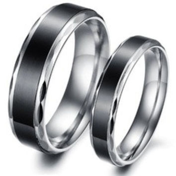 (Male+Female)Cool Retro Simple Black 316 l Stainless Steel Titanium Wedding Band Anniversary/Engagement/Promise/Couple Ring Best Gift! [7687972934]