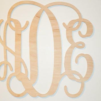 "Wooden monogram 24""  DIY  Unpainted  wooden monogram wall decor Personalized nursery monogram  wedding monogram  Large monogram above crib"