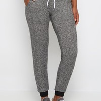 Black Marled Ribbed Cuff Jogger | Solid Joggers | rue21