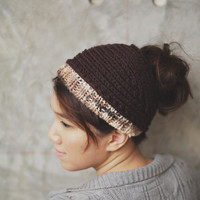 Two-Tone Knit Headband - Chocolate and Malted Brown