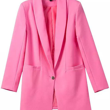 Rose Red Notched Collar Single Button Long Sleeve Blazer