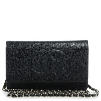 CHANEL Caviar Timeless CC Wallet on Chain WOC Black NEW