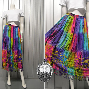 Vintage 70s Indian Cotton Deadstock Hippy Skirt Tie Dye Boho Embroidered Midi Skirt Crinkle Fringe Skirt Boho Tassel Skirt Tassle 1970s