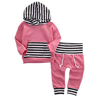 SY191 Newborn Baby Boys Clothing Set Tops striped Toddler Hooded Outerwear Warm Long Pants Outfits Set Clothes Bay Boy Girl suit