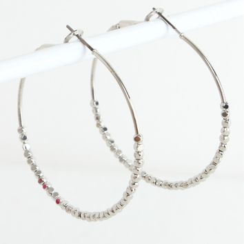 Small Beaded Hoops Silver