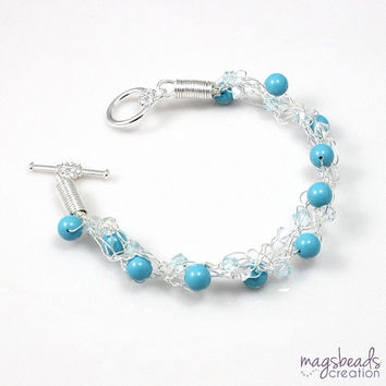 Crocheted Bracelet, Vibrant Blue Jewelry, Turquoise Blue Shade, Pearls and Crystals Crochet Jewellery, Brides, Bridesmaid Bracelet
