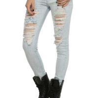 Puzzle Distressed Light Indigo Wash Skinny Jeans