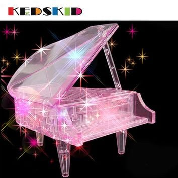 3d three-dimensional crystal puzzle educational toys creative gifts Piano music led the girls favorite model Free shipping