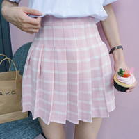 PINK PLAID TENNIS SKIRT