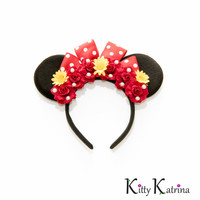Minnie Mouse Ears Headband, Disney Ears, Mouse Ears, Red Minnie Mouse Ears, Disney Bound, Disney Headband, Disneyland Paris, Disney World
