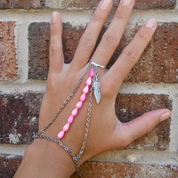 Hot Pink & Feather Silver Chain Slave Bracelet Body Jewelry