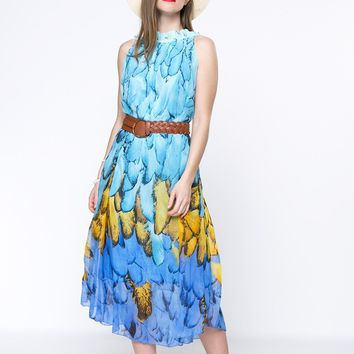 Casual Swing Crew Neck Ruffle Trim Printed Chiffon Maxi Dress