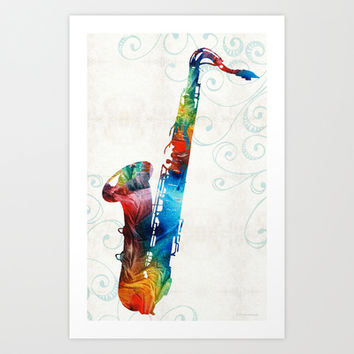Colorful Saxophone 3 by Sharon Cummings Art Print by Sharon Cummings