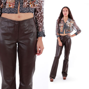 Brown Leather Pants 90s Vintage Shiny Flared Trousers Boot Cut Boho Chic Clothing Womens Size Small