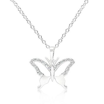 Cubic Zirconia Butterfly Pendant Necklace Cubic Zirconia Butterfly Pendant Necklace