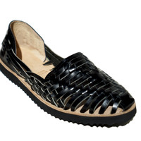 Women's Black Woven Leather Huarache Sandal