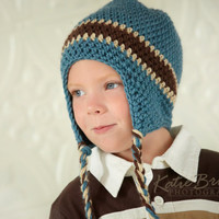 Fall Crochet Boy Hat Blue with Cream and Brown Stripe Earflaps Toddler (1-3 Years) Winter Hat, Back to School, Autumn, Pick Your Colors