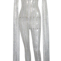 Cape Extra Long Sleeve Stripes Glitter and Mesh Bodysuit Jumpsuit. 3 colors