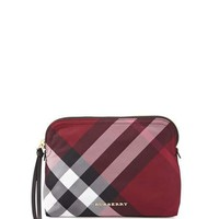 Burberry Large Zip-Top Check Pouch Bag, Plum