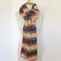 Handknitted Scarf, Extra Long Scarf, Unisex Scarf, Multicolour Scarf, UK Seller