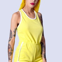 Off Court Terry Cloth Romper - Lemon