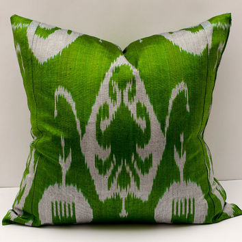 20x20 ikat pillow cover, green gray pillow cover cushion case, pillowcase, pillow cover, ikat, cushion cover