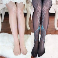 Women Ladies Sexy Transparent Sparkling Mermaid Tail Printing Tights Pantyhose Legging