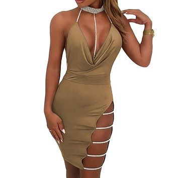 Women Sexy Cutout Bodycon Dress Deep V Neck Backless Party Sequined Dress Clubwear Black/Khaki Summer Dress 2019 Vestidos Festa