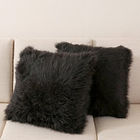 OJIA Best Soft Sheepskin Faux Fur Decorative Cushion Throw Pillow Cover Case 18x18 Inch Black