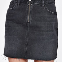 PacSun Black Zip Front Denim Skirt at PacSun.com