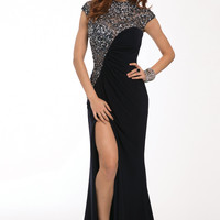Jovani 92081 Navy Jeweled Cap Sleeve Open Back Jersey Prom Dress SALE