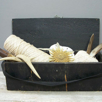 vintage black wood box crate rustic by KatyBitsandPieces on Etsy