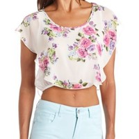 Fluttery Floral Print Flounce Crop Top - Ivory Combo