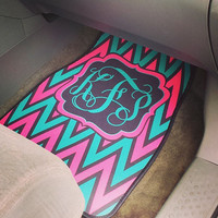 Monogrammed Car Mats! Design your own with Chevron, Polka Dots, Zebra and more. Perfect gift for Sweet Sixteen or Senior Year!