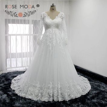 Rose Moda V Neck Long Sleeves Lace Wedding Dress Empire Maternity Wedding Dresses Real Photos